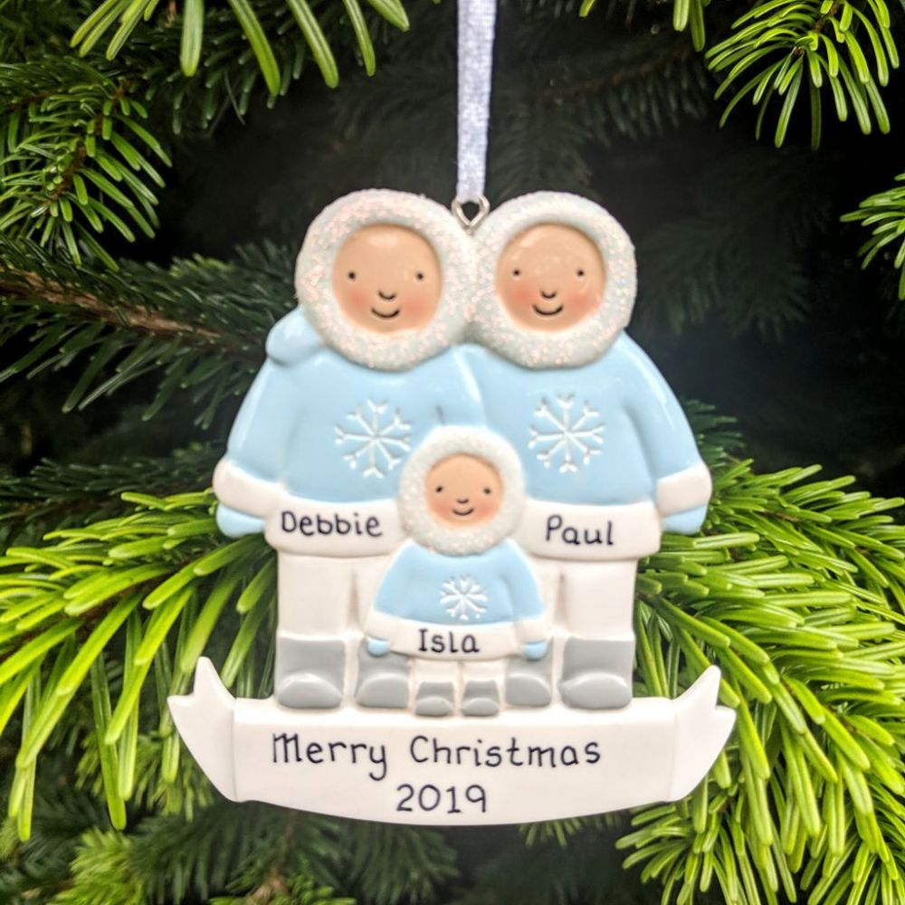 Eskimo Family of 3 - Personalised Christmas Decoration - Personal Xmas Gift/Keepsake